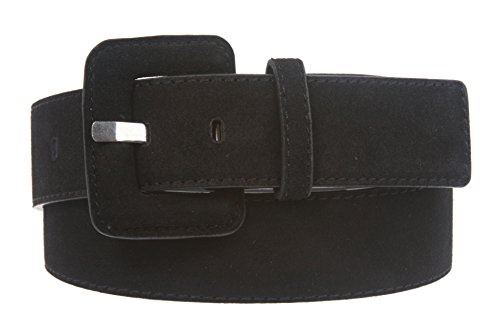 1 1/2 Inch Stitching-Edged Suede Leather Belt Size: L/XL - 40 Color: Black (Patent Leather Covered Buckle Belt)