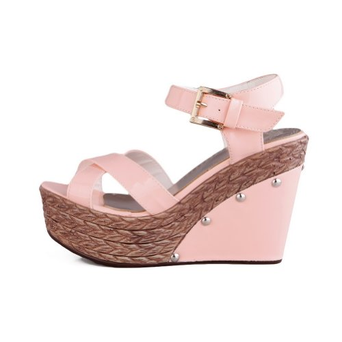 Amoonyfashion Donna Open Toe Tacco Alto Cuneo Pu Materiale Morbido Colori Assortiti Sandali Con Plateau,, Vero Rosa