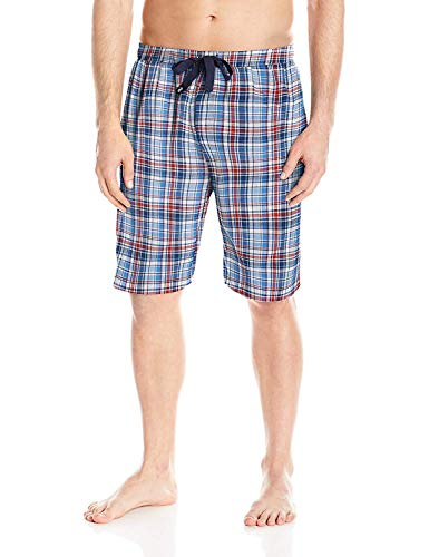 IZOD Men's Microsanded Yarn-Dye Broadcloth Sleep Short (Navy/White/Red Plaid, Large Tall) (White Broadcloth Pajamas)
