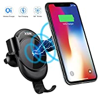 Wireless Car Charger Mount, XSN Adjustable Gravity Car Air Vent Phone Holder,Standard Charge for iPhone Xs/XS Max/XR/X/8/8 Plus,10W Fast Charge for Samsung Galaxy S9, S9Plus,Note 9 and More