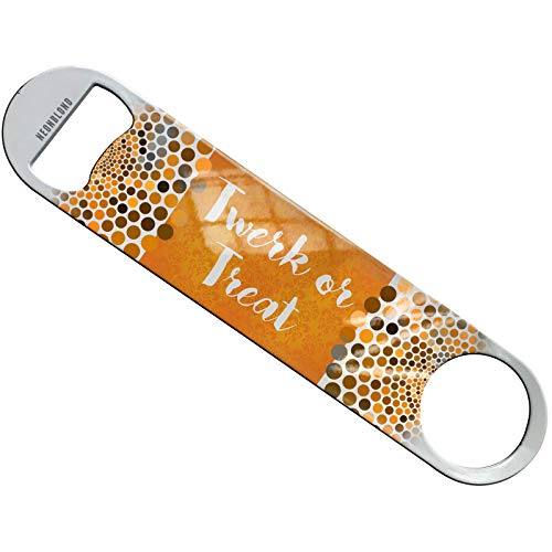 Neonblond Twerk or Treat Halloween Orange Wallpaper Flat Beer Bottle Opener Heavy Duty Bartender -