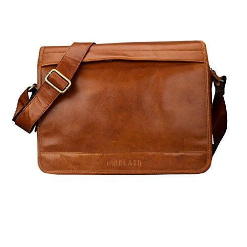 Finelaer Genuine 13'' Leather Laptop Messenger Shoulder Office Work Bag Brown for Men and Women by FINELAER