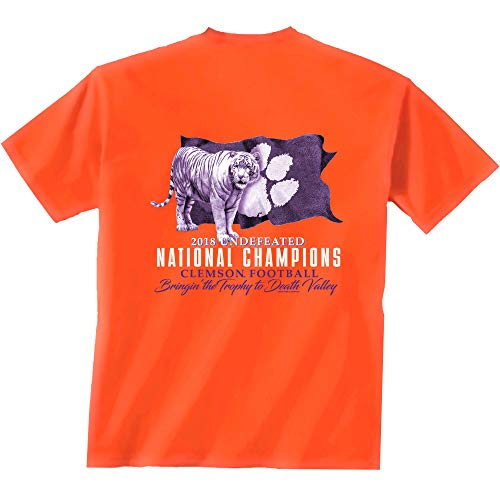 NCAA Clemson Tigers 2018 National Champions Short Sleeve T-Shirt-XXL Orange