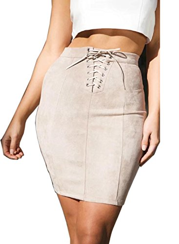 Check Mini Skirt (Siyinfushi Women Basic Suede Stretch High Waist Bandage Bodycon Sexy Mini Skirt (L, 02-Pifen))