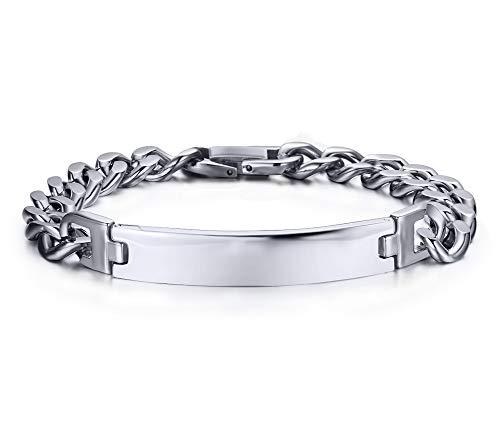 Engravable Stainless Steel ID Bracelets for Men Women, Name Plate Identity Link Bracelets,Birthday ()
