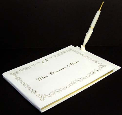''Mis Quince Anos'' Quinceanera Guest Book & Pen Set (QAGB7118 Z)