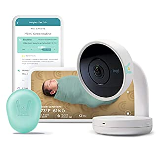 Lumi by Pampers Smart Baby Monitor (HD Video) + 2 Sleep Sensors + 222 Lumi Diapers, Newborn and Size 1