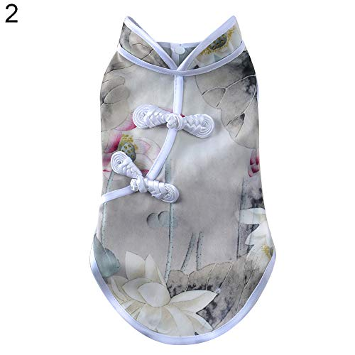 LLtidmsWL Pet Clothes Clothes for Dog Cat Puppy Hoodies Coat Sweater Dog Outfits Chinese Culture Cheongsam Style Clothes Floral Print Puppy Sleeveless Apparel 2# L