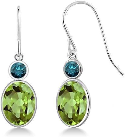 2.86 Ct Oval Green Peridot Blue Diamond 14K White Gold Earrings