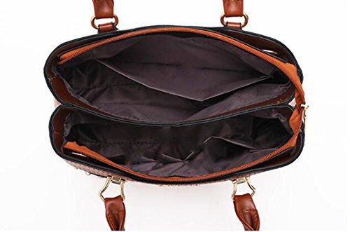 LXYIUN Pack Main Sac PU Brown Main Combinaison Red Diagonal Quatre Cartes Pièces De Main À Sac Sac Portefeuille À Paquet Cuir en À gIqgwrxT