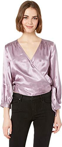Wrap Blouse Satin - 1.State Women's Long Sleeve Wrap Front Waisted Blouse Wildflower Medium