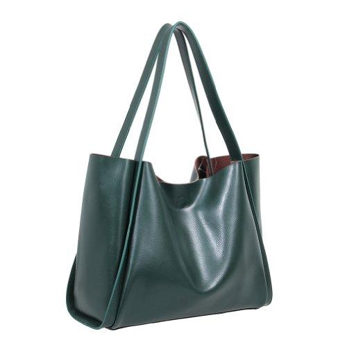 Fineplus Womens Classic New Fashion Vintage Leather Lady Versa Diaper Portable Shoulder Bag Dark Green