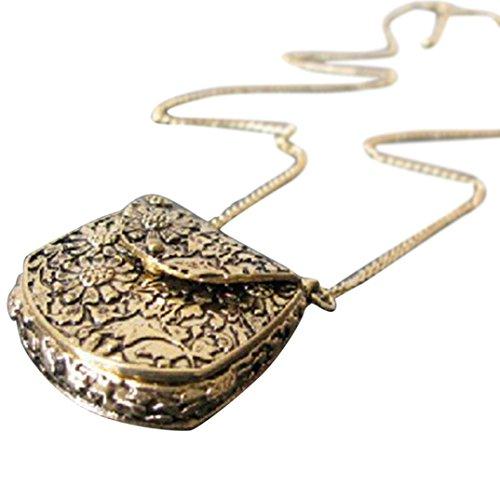 Quaanti Women Vintage Sweater Coat Necklace Unique Bag Box Shape Carved Locket Long Chain Pendants Necklaces -