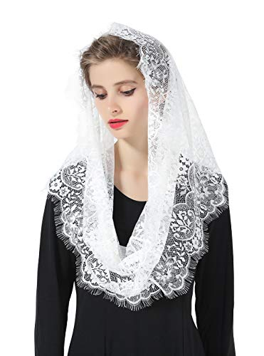 Mantilla Catholic Veil Easter Halloween Church Chapel Cathedral Head Covering Infinity Lace Scarf Latin Mass Off -