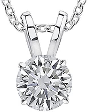 1/2-3 Carat 14K White Gold GIA Certified Round Cut Diamond Pendant Necklace Premium Collection (G-H Color, SI1-SI2 Clarity)