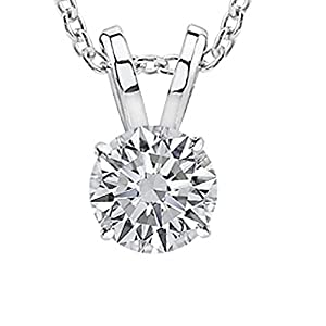 0.5 1/2 Carat 14K White Gold Round Diamond Solitaire Pendant Necklace 4 Prong J K Color SI2 I1 Clarity