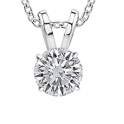 0.5 1/2 Carat 14K White Gold Round Diamond Solitaire Pendant Necklace 4 Prong F-G Color I2 Clarity by Chandni Jewelers