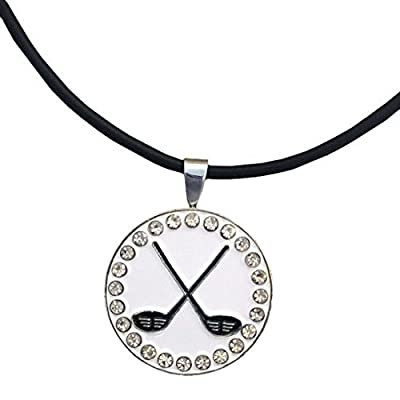 Giggle Golf Bling Crossed Clubs Magnetic Ball Marker Necklace