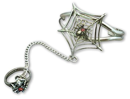 Pewter Slave Bracelet - Real Metal Gothic Spider On Web with Ring Size 7 Slave Bracelet