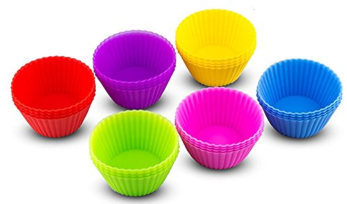 (Armanicke Silicone Muffin Cups 12 Pack - 6 Vibrant colours Reusable Non-Stick Heat Resistant Cupcake Molds-FDA Approved Baking Liners- BPA-Free Professional Food Grade Baking Mold-Rainbow Dessert Cups)