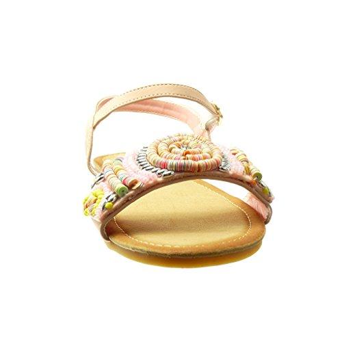 Angkorly - Zapatillas de Moda Sandalias mujer joyas trenzado Talón Tacón ancho 1.5 CM - Rosa