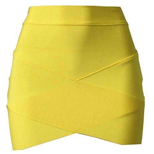 Abrigo Faldas Mujer Tubo Sunnow Amarillo Ajustadas De Falda Cruzadas PxZW0W5q