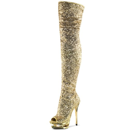 Gold Rhinestone Sparkle Womens Platform Boots (Sparkling Gold Thigh High Platform Boots with Double Platforms and 6 Inch Heels Size: 9)