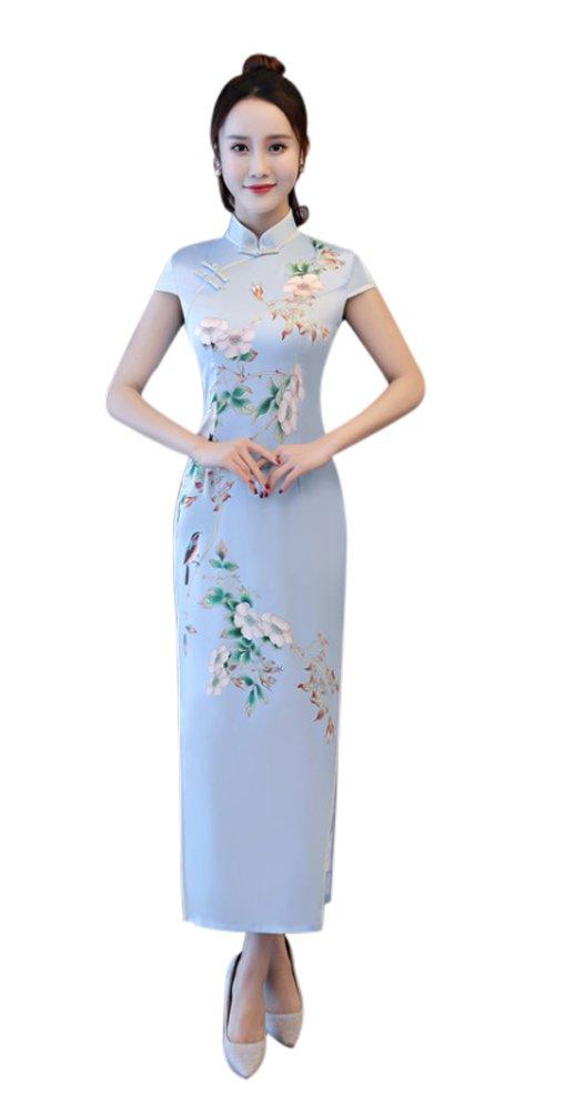 Seacolor Women's Blue Floral Mulberry Silk Summer Long Cheongsam Qipao Dress
