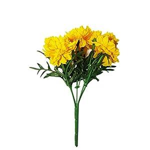 NAVA CHIANGMAI Thai Artificial Marigold Flowers,Artificial Yellow Marigold Bunch,Yellow Flowers, Marigold Yellow, Flower Garland,Marigold Flowers Decor (10 Inces/Pack of 3) 19