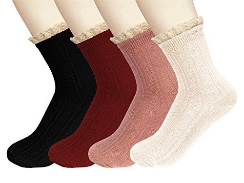 Urban CoCo Women's Retro Knit Crew Socks Lace Trim Socks 4 Pack (# - Socks Crew Trim Crew Fit