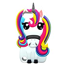Bukit Cell Bundle - 3 Items: Bukit Cell White 3D Meg Unicorn Horse Silicone Cool Cute Lovely Fun Case for Ipod touch 5 / 6, Screen Protector and Bukit Cell Metallic Stylus Touch Pen For Girls