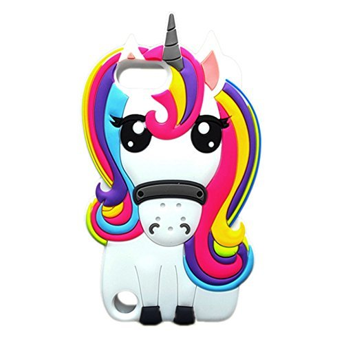 Cute Rainbow Unicorn iPod 5/6 Case,Awin 3D Cute Cartoon Animal Soft Silicone Rubber Case(Rainbow Unicorn)