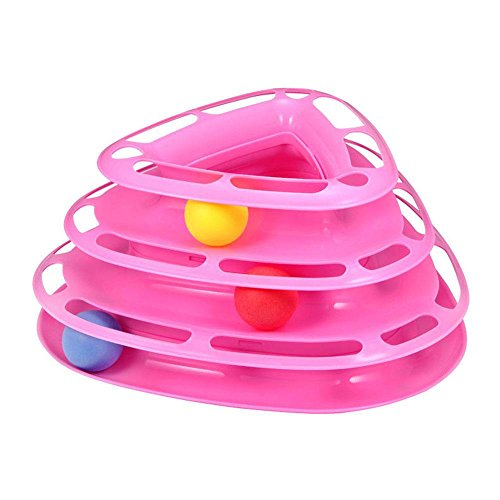 Aolvo Pet Interactive Toys Intelligence Triple Tower of Tracks Play Disc Balls for One or More Kittens ()