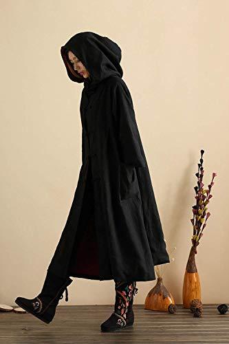 Cazadoras Colores Ocasional Mujer Larga Chaqueta Chaquetas Largos Fashion Schwarz Primavera Modernas Vintage Capucha Outerwear Manga Anchos Capa Otoño Sólidos Con Elegantes wOEXqw4H