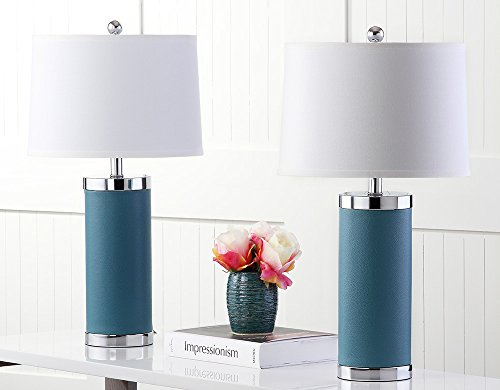 (Safavieh Lighting Collection Leather Column Blue 26-inch Table Lamp (Set of 2))