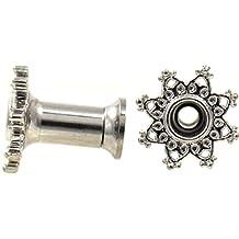 Pair of Steel Heart Lace Filigree Rim Ear Plugs Tunnels - 6 Gauge (4mm)