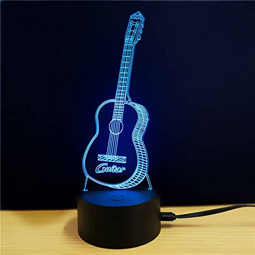 Pimtong Shop LED Decorations 7 Colors Changing Desktop Colorful LED Lights Guitar Neon Signs For Home Decor Gift 2pcs (Guitar Neon Sign)