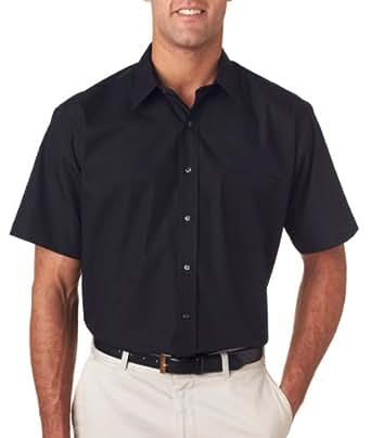 Van Heusen V0217 Mens Short-Sleeve Cotton-Rich Broadcloth - Black, 2XL