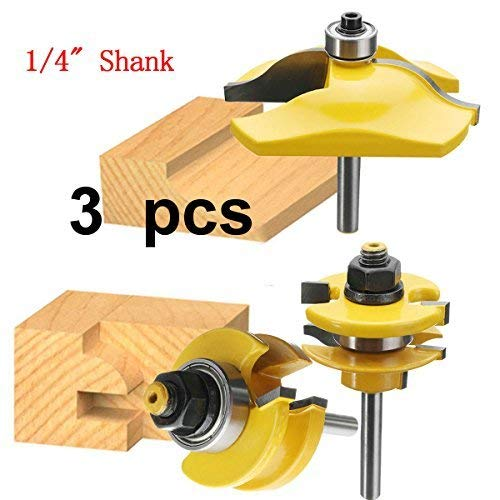 (Aoher 3pcs 1/4 Inch Shank Ogee Rail and Stile Ogee Raised Panel Router Bit Set)