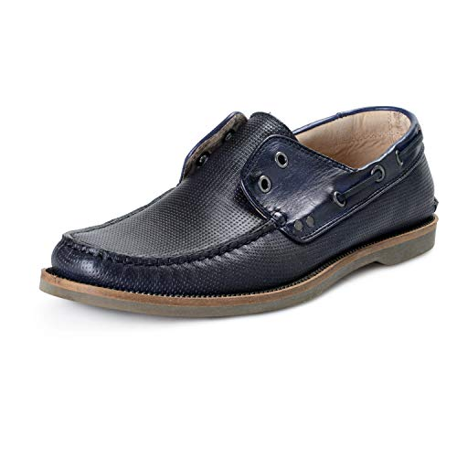John Varvatos All Star USA Men's Blue Leather Drifter Boat Loafers Shoes Sz US 8.5 IT 41.5