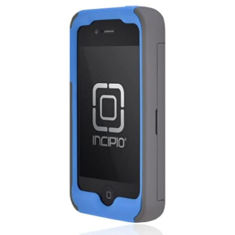 Incipio IPH-676 Stowaway Credit Card Case for iPhone 4/4S - Retail Packaging - Dark Gray/Blue (Iphone 4 Stowaway Case)