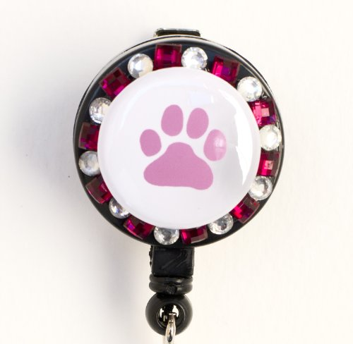 Sizzle City Dog Paw, Dog Foot Print, Dog Lovers Rhinestone Retractable Badge Reel/ ID badge Holder (Pink)
