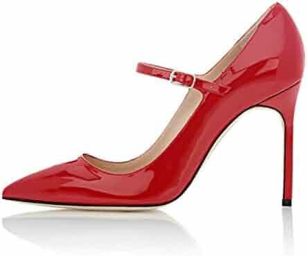 4185b84b7f32 Soireelady Womens High Heel Pumps Mary Jane Court Shoes Office 10CM  Stilettos Black