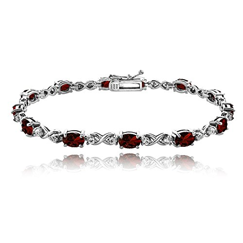 GemStar USA Sterling Silver Garnet 6x4mm Oval Infinity Bracelet with White Topaz Accents