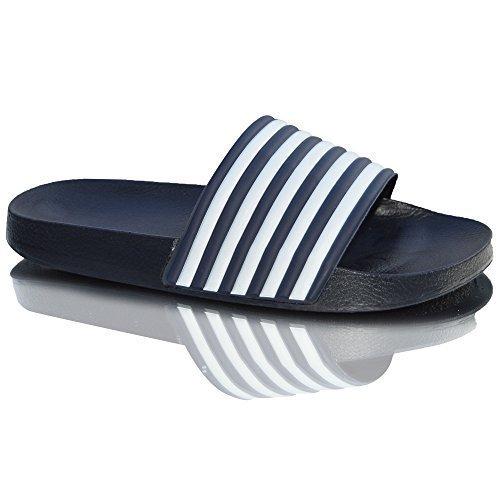 Xelay Mens Flip Flops Shower Sandals Pool Beach Summer Mules UK Size 7 - 11 Navy Blue White tFH6AM