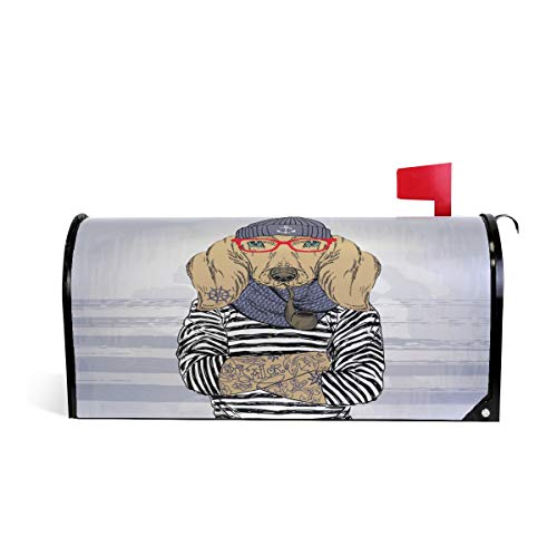 ALAZA Dachshund Sailor with Tattoo Magnetic Mailbox Cover Oversized-25.5