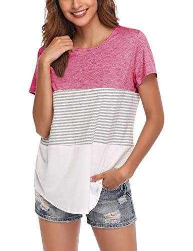 AUPYEO Women's Short Sleeve T Shirt Round Neck Color Block Stripe Top Casual Blouse Red ()