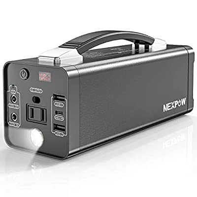 NEXPOW Portable Power Station, 178Wh Solar Generator Lithium Polymer Battery Emergency Backup Power Supply with 110V/120W(Peak 150W) PD 3.0 and AC Inverter Outlet for Home Small CPAP Outdoors Fishing