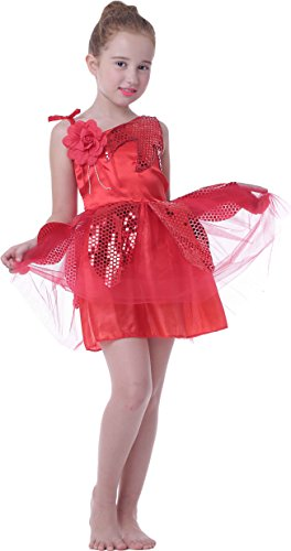 [Girl's Kid School Shows Lotus Dance Costumes Dress Carnival Halloween (red, 6/7)] (Red Halloween Kids Costumes)