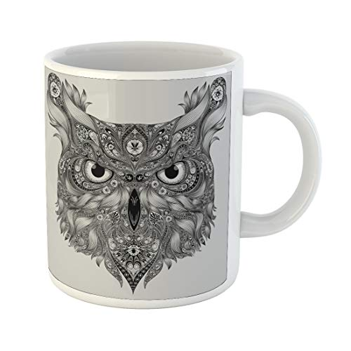 Semtomn Funny Coffee Mug Coloring Abstract Owl Patterns Flying Hand Head Drawn Page Sketch 11 Oz Ceramic Coffee Mugs Tea Cup Best Gift Or Souvenir